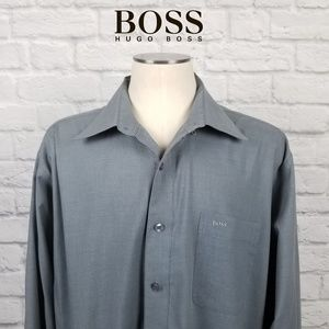 Hugo Boss Button Front Casual  Dress Shirt Sz 17.5